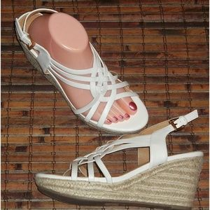 Braided jute rope wedge sandals EUC Cato 10M